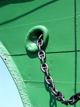a big ship: Close-up of the metallic chain of the anchor of a big ship