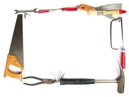 craftmanship: Tools making a frame on white background Stock Photo