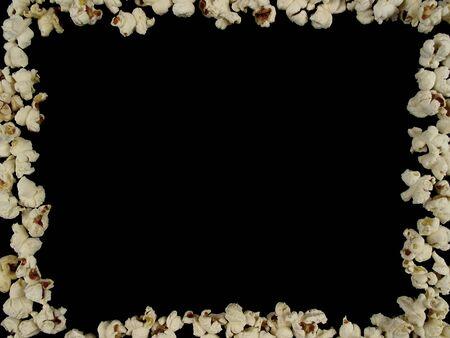 aligned: Popcorn aligned building a frame on black background