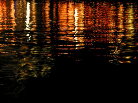 reflecting: Reflecting, colourful lighst on water surface with black copy-space