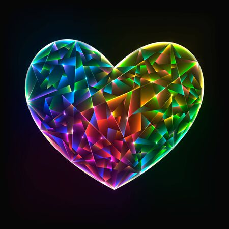 glass heart: Vector illustration glowing colorful glass heart