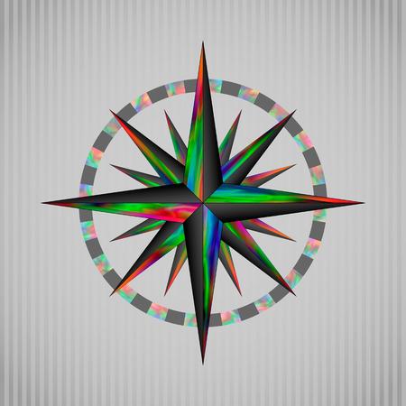 Vector illustrazione di colore rosa dei venti circolare
