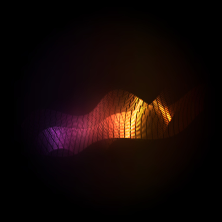 alight: Golden glowing lucent alight waves abstract lines Illustration