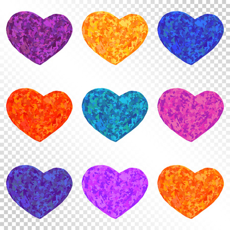 heart puzzle: Colorful Bright Hearts Set on Transparent Background