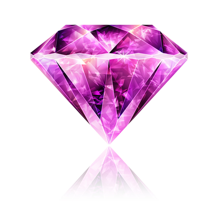 ruby gemstone: Design Element Bright Glossy Pink Gemstone Ruby Illustration
