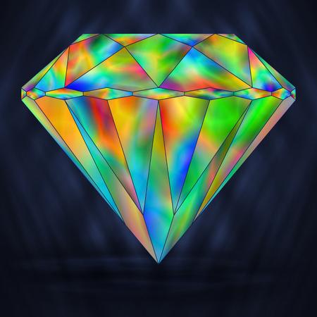 gemstone: Bright Rainbow Colorful Gemstone. Iridescent Crystal Icon.