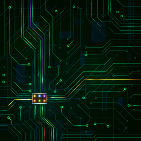 green technology: Digital Technology Background. Glowing Green Electric Microchip. Illustration