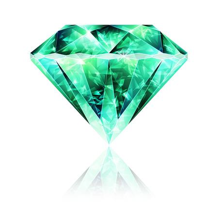 Bright Green Glossy Bijoux en cristal Emerald Gemstone Vecteurs