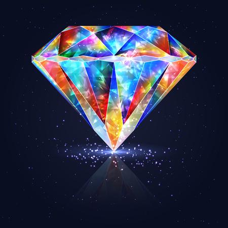 Bright Glowing Colorful Gemstone Quartz. Magical Crystal. 矢量图像