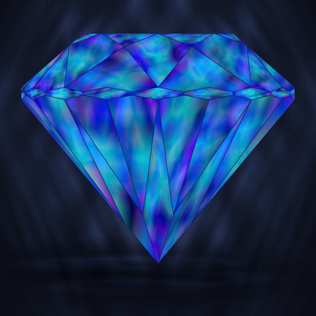 Blue Diamond Marine Crystal. Stylized Element Gemstone. Neptunian Crystal.