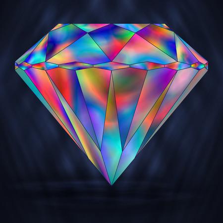 gemstone: Sign Colorful Rainbow Crystal. Iridescent Object Gemstone.