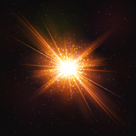Shining Hot Cosmic Explosion of Star - Realistic Object. Cosmic Concept.