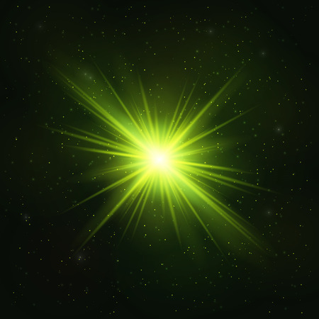 Glowing Realistic Green star - Stylized Object. Cosmic Concept.