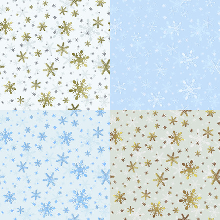 seamlessly: Set of Christmas Seamless Patterns with Snowflakes. New Year Snowy Textures for Wrapping-paper. Kit of Winter Ornaments for Seamlessly Replicate.