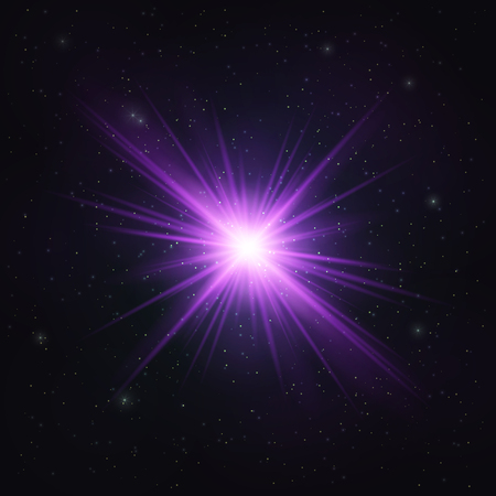 Abstract Shimmering Realistic Violet star - Cosmic Object. Abstract Design Element.