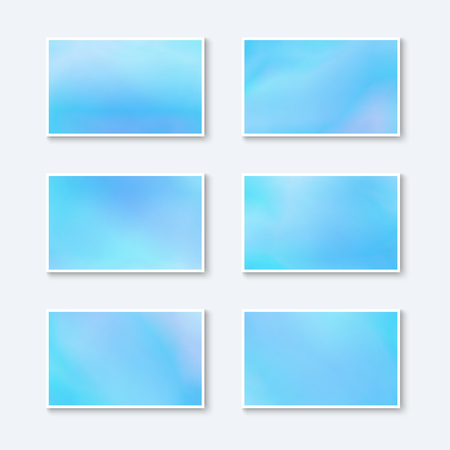Blanks for Business Cards  Greeting Cards  Postcards. Set of Pastel Azure Baners. Kit of Templates for Business Cards Sky Color. Illustration