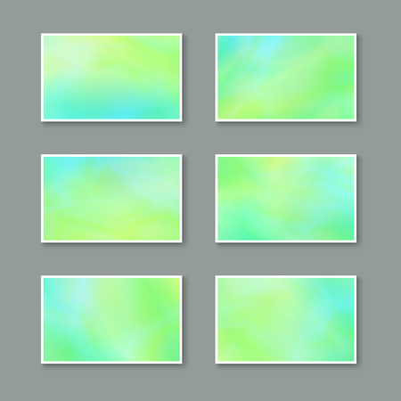 blanks: Templates for Greeting Cards  Invitations  Postcards. Set of Bright Spring Stickers. Kit of Light Green Blanks Business Cards for Text. Illustration