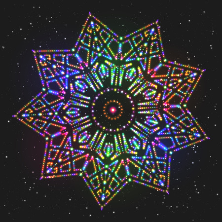 polychromatic: New Year Decoration Shining Colorful Star. Christmas Decorative Adornment. Circular Patterned Ornament. Illustration