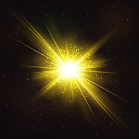 Burning Bright Cosmic Explosion of Star - Realistic Cosmic Object. Abstract Design Element. Illustration