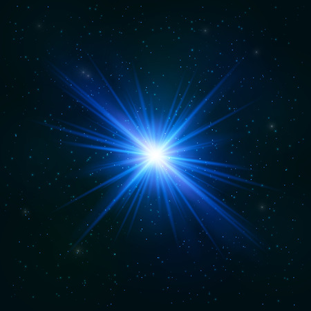 Glowing Realistic Blue star - Stylized Object. Cosmic Concept. Illustration