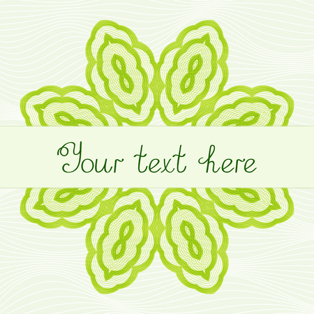 Modèle pour le titre Mandala vert stylisé. Ornement à motifs circulaires.