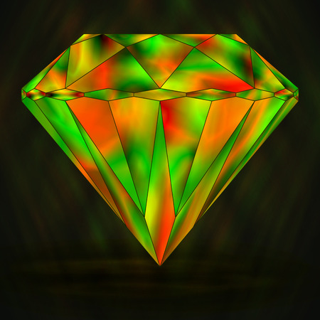 Sign Colorful Green and Red Crystal. Gradient Object Gemstone.