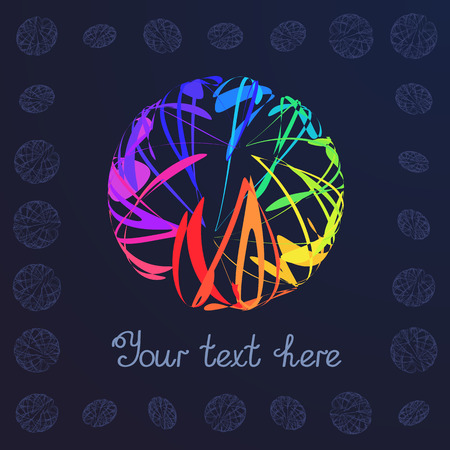 signboard form: Template for Text Colorful Sphere on Dark Background. Abstract Geometric Rainbow Figure Ball. Illustration