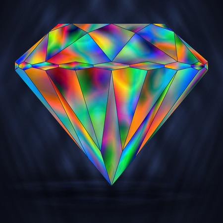 arcanum: Bright Rainbow Colorful Gemstone. Iridescent Crystal Icon.