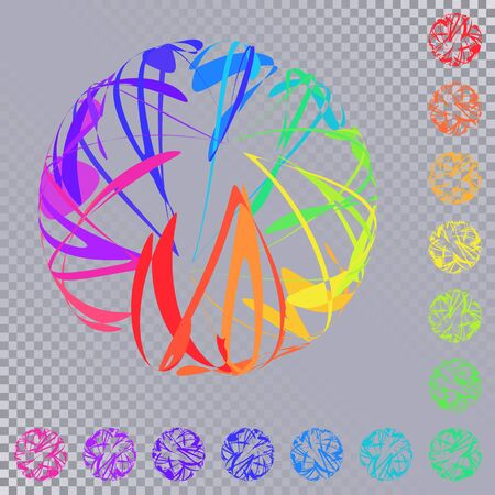Set of Bright Colorful Spheres of Intersecting Curves. Abstract Design Elements Isolated on Transparent Background.