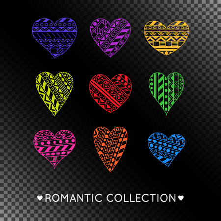 Set of Colorful Ornamentation Hearts on Transparent Background. Criative Romantic Collection of Hearts with Geometric Ornament.