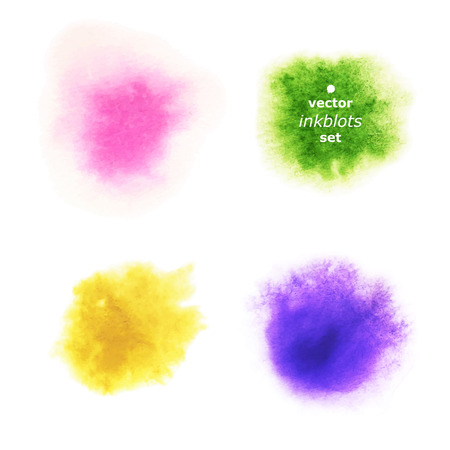 Set of Realistic Aquarelle Blots on White Background. Kit of Colored Watercolor Spots.