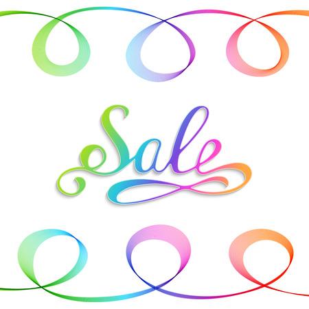 Handwritten Rainbow Inscription Sale on White Background. Advertising Sale Lettering. Illustration