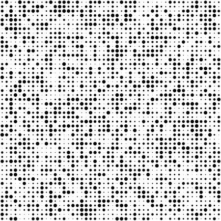 Universal Seamless Pattern of Black Circles on White Background. Abstract Geometric Asymmetric Monochrome Texture.