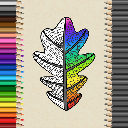 Handmade Oak Leaf with Zentangl Pattern in Frame of Pencils. Bright Rainbow Leaf for Cover of Coloring Book.