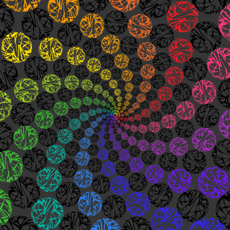 Abstract Rainbow Background Rotating Spiral of Spheres.