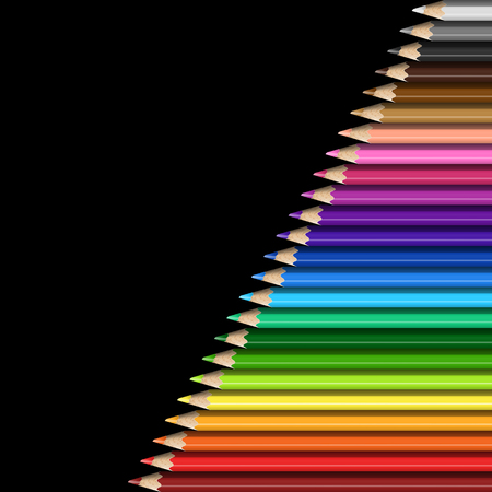 Sloping Line of Realistic Colorful Pencils on Black Background. Texture of Colored Pencils for Presentation, Template, Cover.
