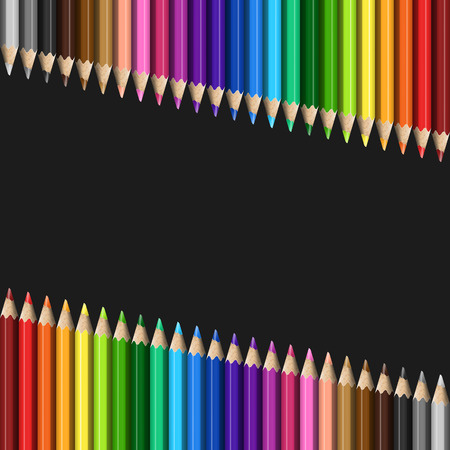 Sloping Lines of Realistic Colorful Pencils on Black Background. Texture of Colored Pencils for Business Presentation, Publications, Blank, Template, Cover. Illustration