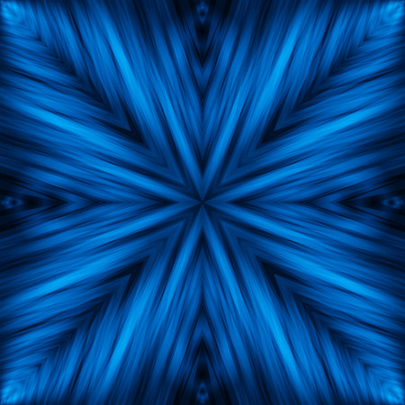 Blue Striped Angular Background of Night Colors. Texture of Symmetric Intersecting Lines from Center.