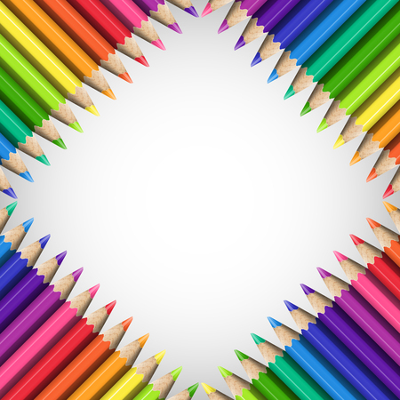 Quadratic Frame of Realistic Colorful Pencils on White Background. Template of Slanting Line of Sharp Colored Pencils for Universal Application. Illustration