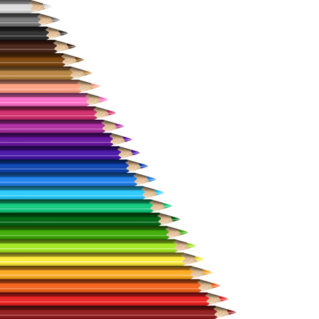 Sloping Line of Realistic Colorful Pencils on White Background. Texture of Colored Pencils for Presentation, Template, Cover.