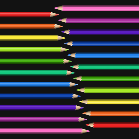 Slanting Line of Realistic Colorful Pencils on Black Background.Template for Universal Abstraction. Illustration