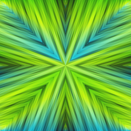 Light Green Striped Angular Background of Spring Colors. Gradient Texture of Symmetric Intersecting Lines from Center. Illustration