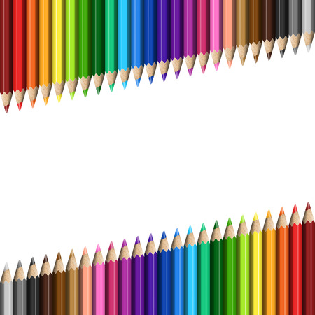 Sloping Lines of Realistic Colorful Pencils on White Background. Texture of Colored Pencils for Business Presentation, Publications, Blank, Template, Cover.