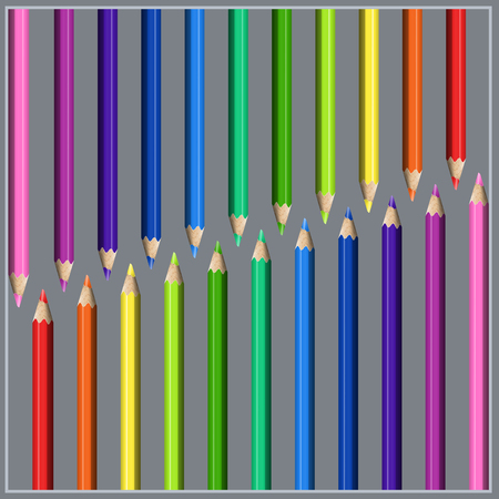 Slanting Two-side Line of Colorful Realistic Pencils. Striped Composition of Stationery for Design School and Childrens Products.