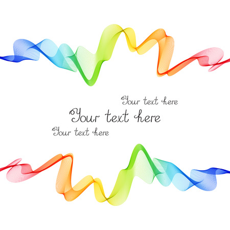 Bright Rainbow Frame of Wave Lines on White Background. Colorful Template for Text, Cover, Header. Illustration