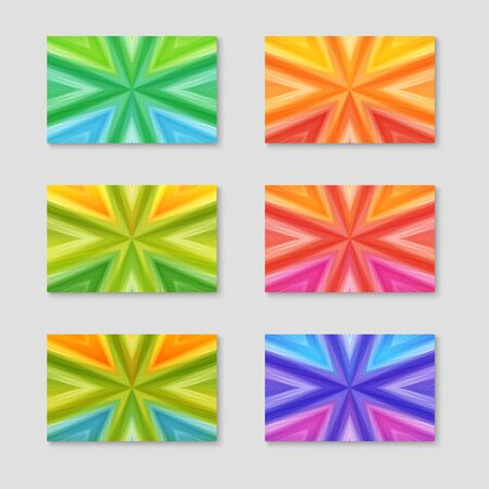 Set of Cards with Striped Texture of Different Colors. Illustration