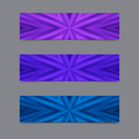 Set of Cards or Banners with Blue and Violet Striped Texture.