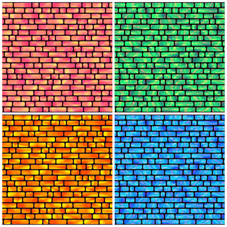 Set of Seamless Pattern with Holographic Rectangles of Different Colors.