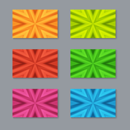 Set of Cards with Striped Texture of Different Colors. Collection Templates for  Business Cards, Flyers, Stickers.