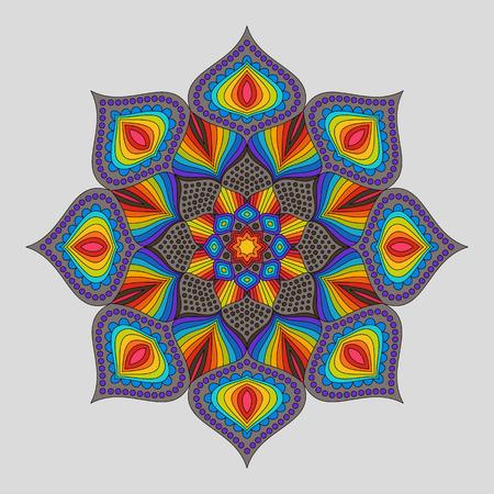 Vintage Decorative Element Rainbow Mandala. Bright Colorful Oriental Circular Striped Pattern.